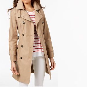 Classic Tan London Fog Trench Coat Double Breasted